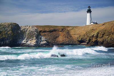 Yaquina Head Lighthouse On The Oregon Coast Art Print