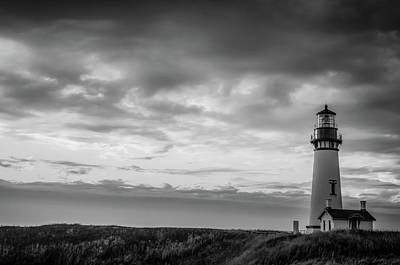 Photograph - Yaquina Head Lighthouse Sunset by Don Schwartz
