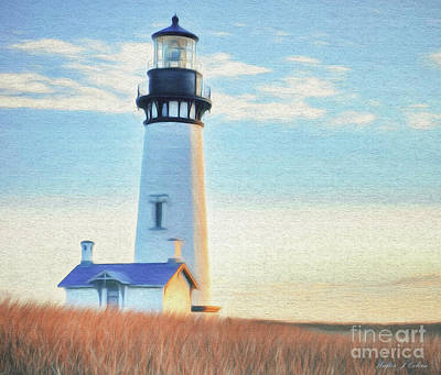 Digital Art -  Yaquina Head Lighthouse by Walter Colvin