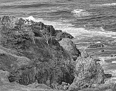 Oregon Photograph - Yaquina Head Sea Cliffs Bw by Marv Vandehey