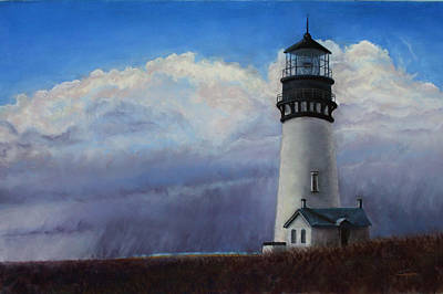 Painting - Yaquina Head Storm by Carl Capps