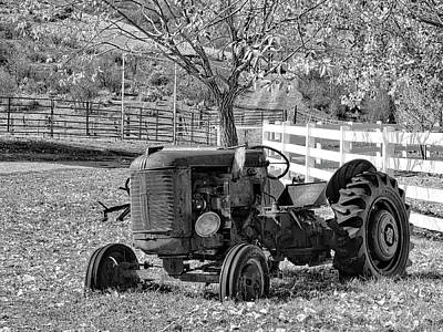 Photograph - Yard Art Tractor Bw by David King