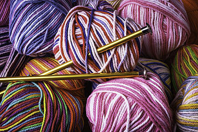 Yarn And Knitting Needles Art Print by Garry Gay