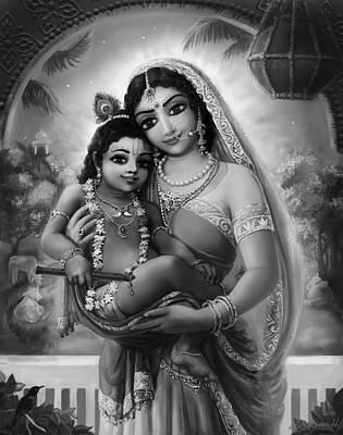 Mixed Media - Yashoda And  Krishna Black-white by Lila Shravani