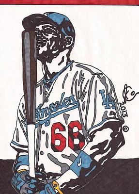 Los Angeles Dodgers Drawing - Yasiel Puig 1 by Jeremiah Colley