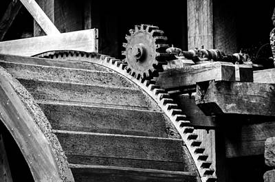 Yates Mill Photograph - Yates Mill Gear In Black And White by Anthony Doudt