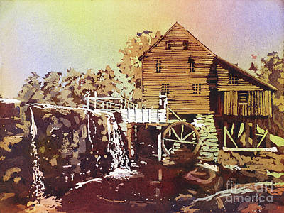 Gristmill Painting - Yates Mill Park by Ryan Fox