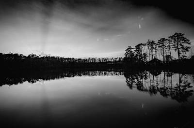 Photograph - Yates Mill Pond At Sunset In Black And White by Anthony Doudt