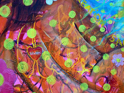Spiritual Painting - Yaweh Detail 1 Of Theology Of The Body by Anne Cameron Cutri