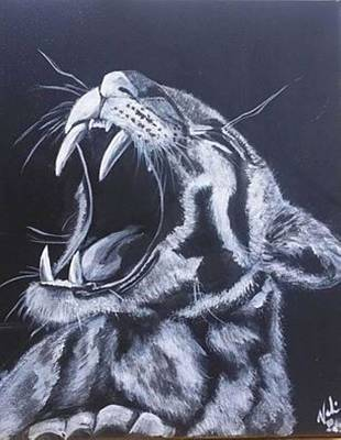 Yawning Painting - Yawning Clouded Leopard by Valerie Heath