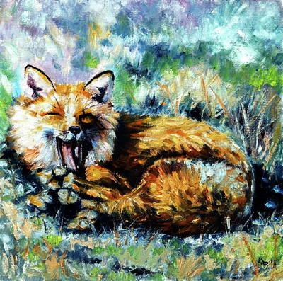 Painting - Yawning Fox by Kovacs Anna Brigitta