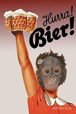 Orangutan Mixed Media - Yay Beer by Brenda Gordon