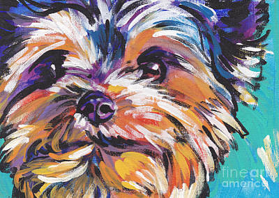 Portrait Dog Painting - Yay Yorkie  by Lea S