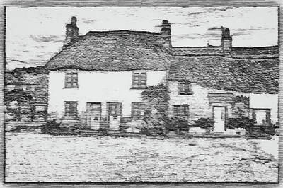 Graphic Digital Art Drawing - Ye Olde English Home Sketch by Mario Carini