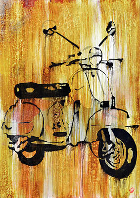 Cycles Painting - Yeah It's A Vespa by Brad Jensen