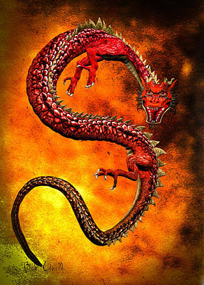 Digital Art - Oriental Chinese Dragon by Bob Orsillo