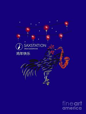 Digital Art - Year Of The Rooster Playing Saxophone by Neal Battaglia