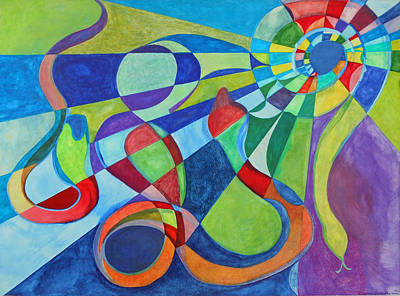 Geometric Painting - Year Of The Snake by Laura Joan Levine