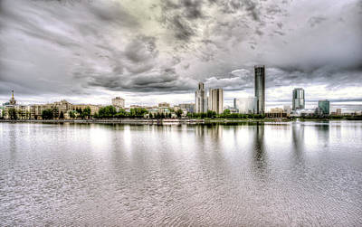 Photograph - Yekerterinburg City Pond And Business Skyline by John Williams