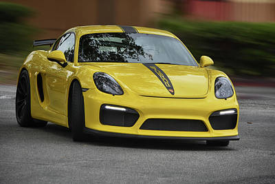 Photograph - Yello Gt4 Porsche by Bill Dutting