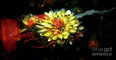 Green Painting - Yellow Abstract Flower by Gull G