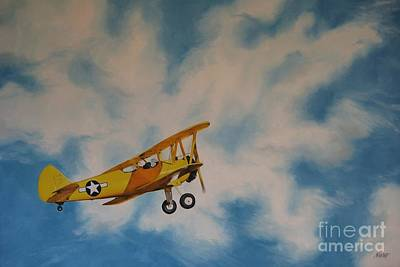 Yellow Airplane Art Print by Jindra Noewi