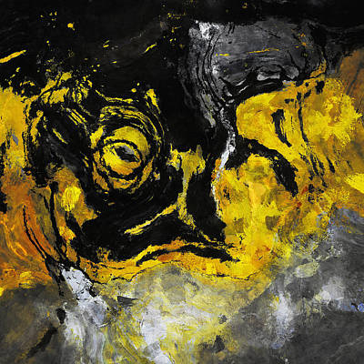 Art Print featuring the painting Yellow And Black Abstract Art by Ayse Deniz