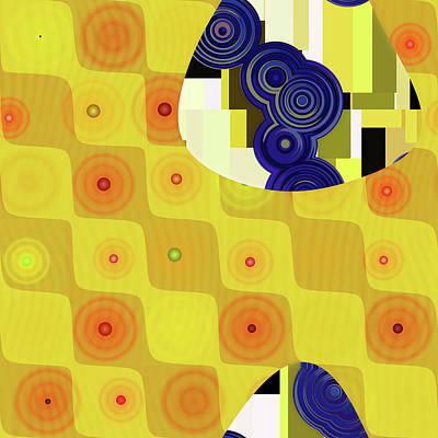 Digital Art - Yellow And Blue Abstract Modern Decor Design by Georgiana Romanovna