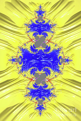 Digital Art - Yellow And Blue Abstract by Steve Purnell