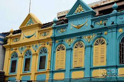 Photograph - Yellow And Blue Art Deco Peranakan Colorful Architecture Houses Hat Yai Thailand by Imran Ahmed