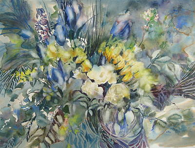 Painting - Yellow And Blue Bouquet by June Conte  Pryor