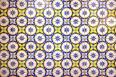 Photograph - Yellow And Blue Circle Tile by For Ninety One Days
