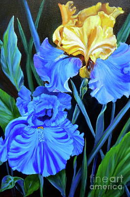 Painting - Yellow And Blue Iris by Jenny Lee