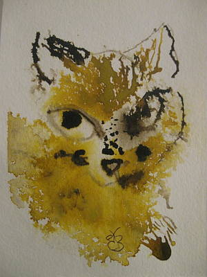 Drawing - Yellow And Brown Cat by AJ Brown