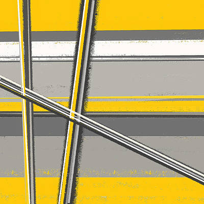 Yellow And Gray Abstract Art Art Print by Lourry Legarde