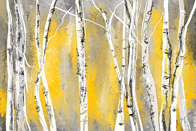 Tree Art Painting - Yellow And Gray Birch Trees by Lourry Legarde
