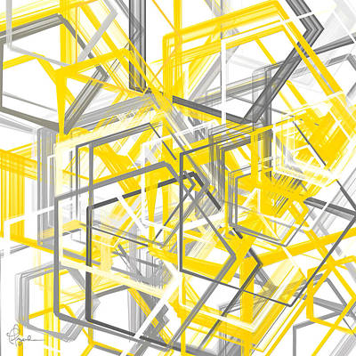 Geometric Artwork Painting - Yellow And Gray Geometric Shapes Art by Lourry Legarde