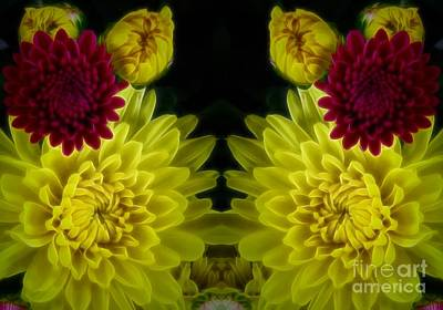 Photograph - Yellow And Maroon Chrysanthemums Mirrored by Rose Santuci-Sofranko