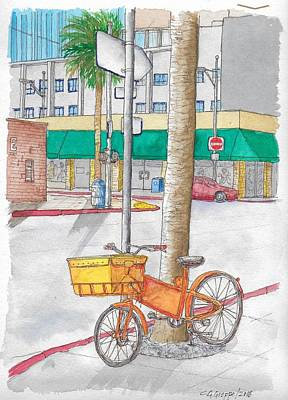 Painting - Yellow And Orange Bicycle In Beverly Hills, California by Carlos G Groppa