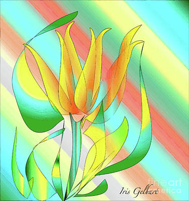 Digital Art - Yellow And Orange Flower by Iris Gelbart