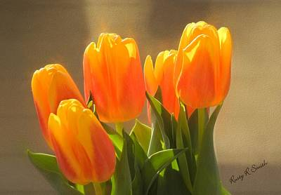 Digital Art - Yellow And Orange Tulip Blossoms by Rusty R Smith