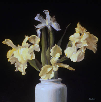 Painting - Yellow And Pale Blue Irises by Robert Holden