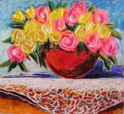 John M Williams Drawing - Yellow  And Pink by John Williams