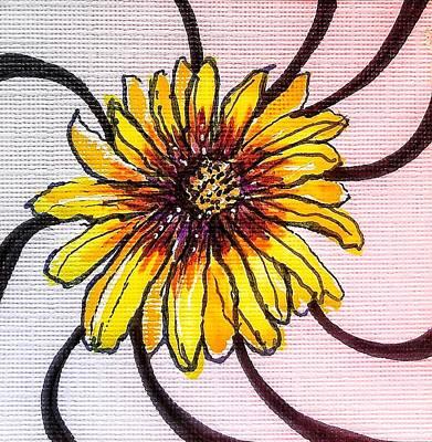Mixed Media - Yellow And Purple Daisy by Renee Marie Martinez