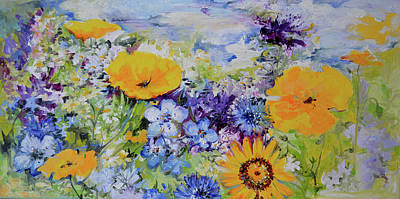 Yellow And Purple Flowers Field Art Print