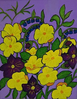 Painting - Yellow And Purple Flowers by Stephanie Moore