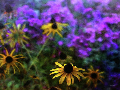 Photograph - Yellow And Purple Garden Flowers 3927 Idp_2 by Steven Ward