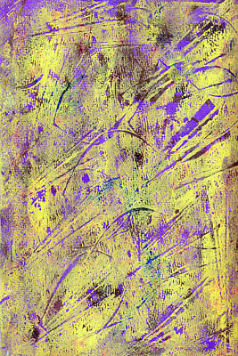 Photograph - Yellow And Purple Gelli Plate Print Abstract by Sandra Foster