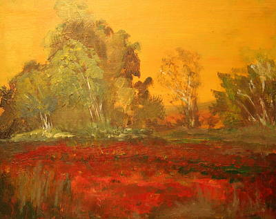 Painting - Yellow And Red Landscape by Julie Lueders