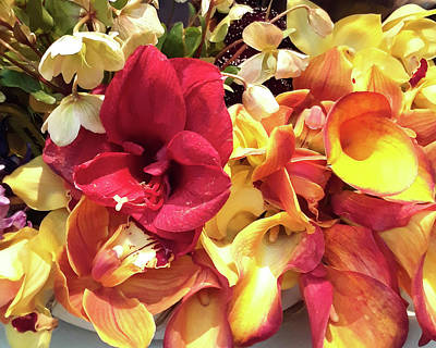 Lilies Royalty-Free and Rights-Managed Images - Yellow And Red Lilies Bouquet  by Irina Sztukowski